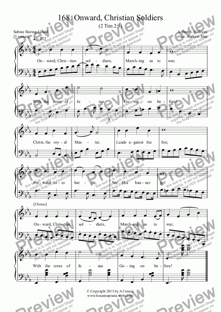 page one of Onward, Christian Soldiers - Easy Piano 168ASALTTEXT