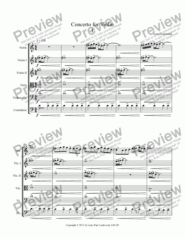 page one of Concerto for Violin