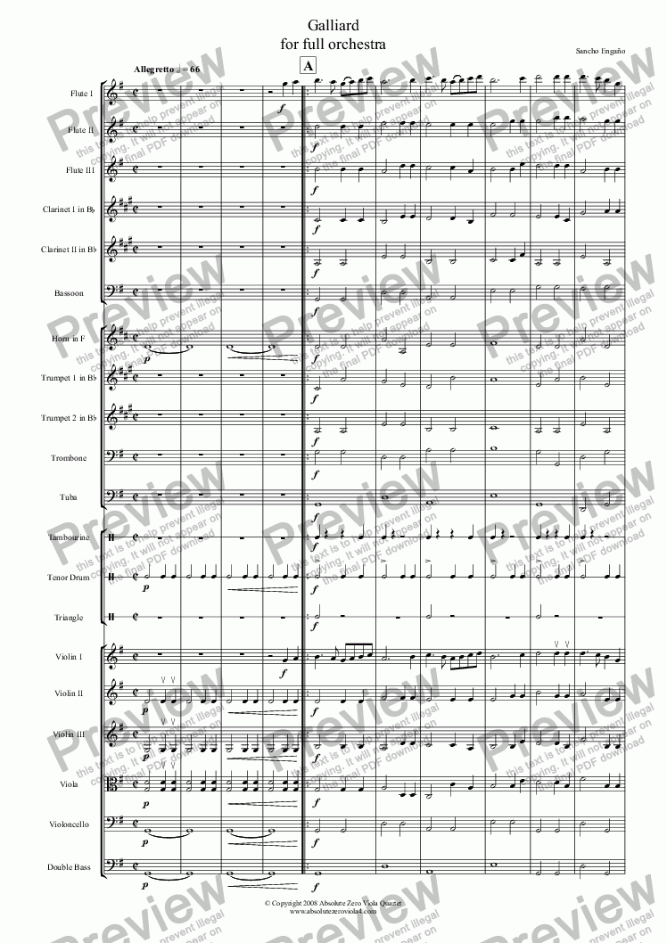 page one of GALLIARD - for full orchestraASALTTEXT