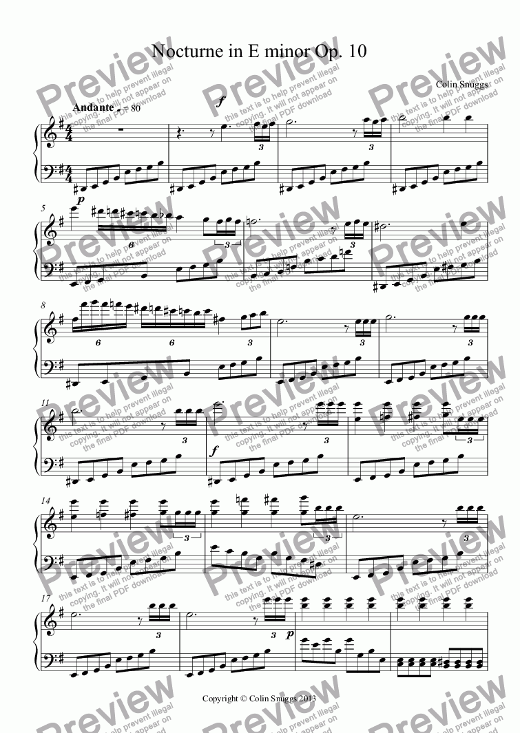 page one of Nocturne in E minor Op. 10ASALTTEXT