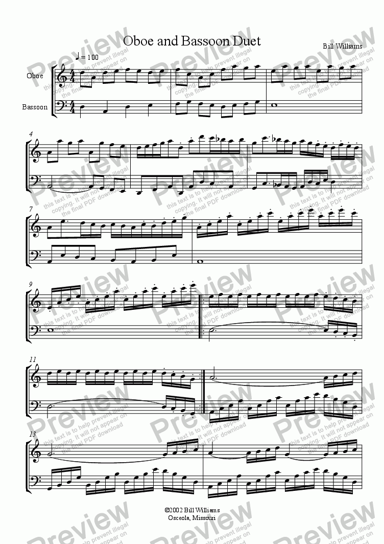 page one of Oboe and Bassoon Duet