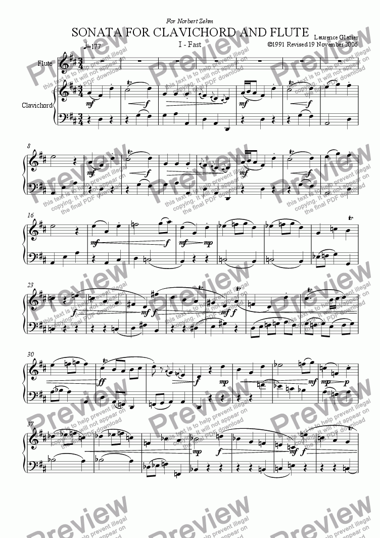 page one of Sonata for Clavichord and Flute (in three movements)