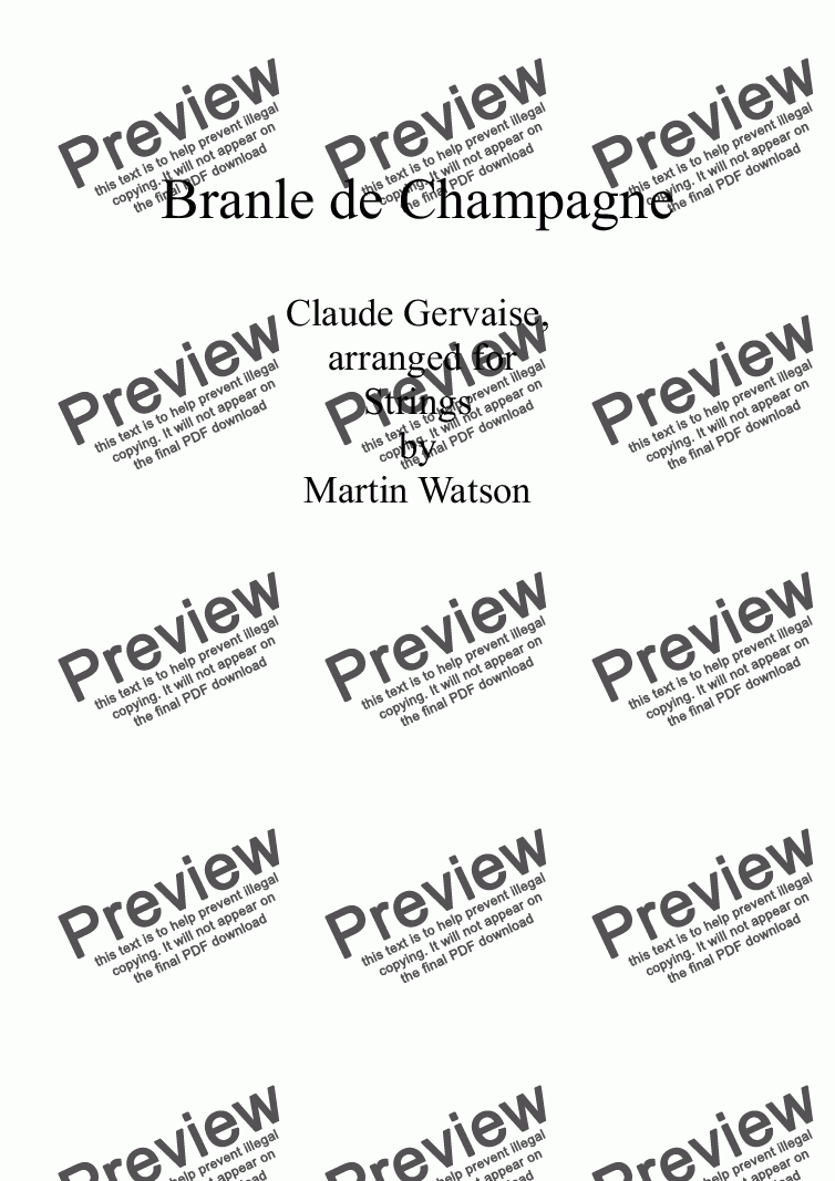 page one of Branle de Champagne for String Orchestra/Quartet