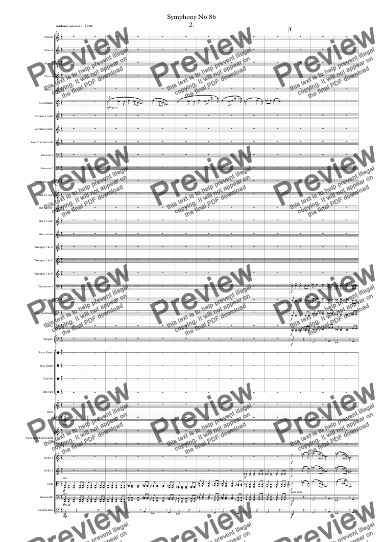 page one of Symphony No 86 2nd movt