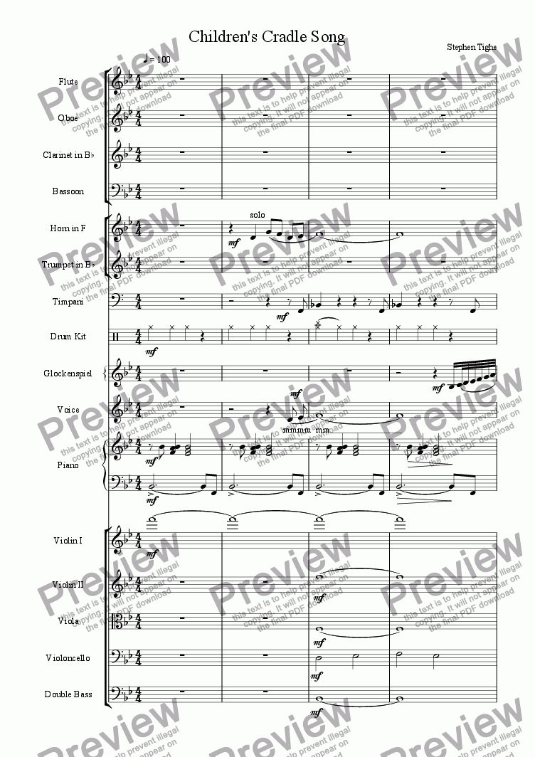 page one of Children's Cradle Song (Orchestral)