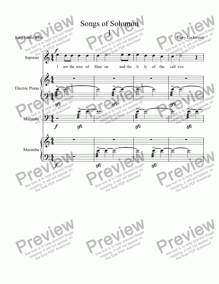 page one of Songs of Solomon orig version for voice, keybd, 2 marimbas