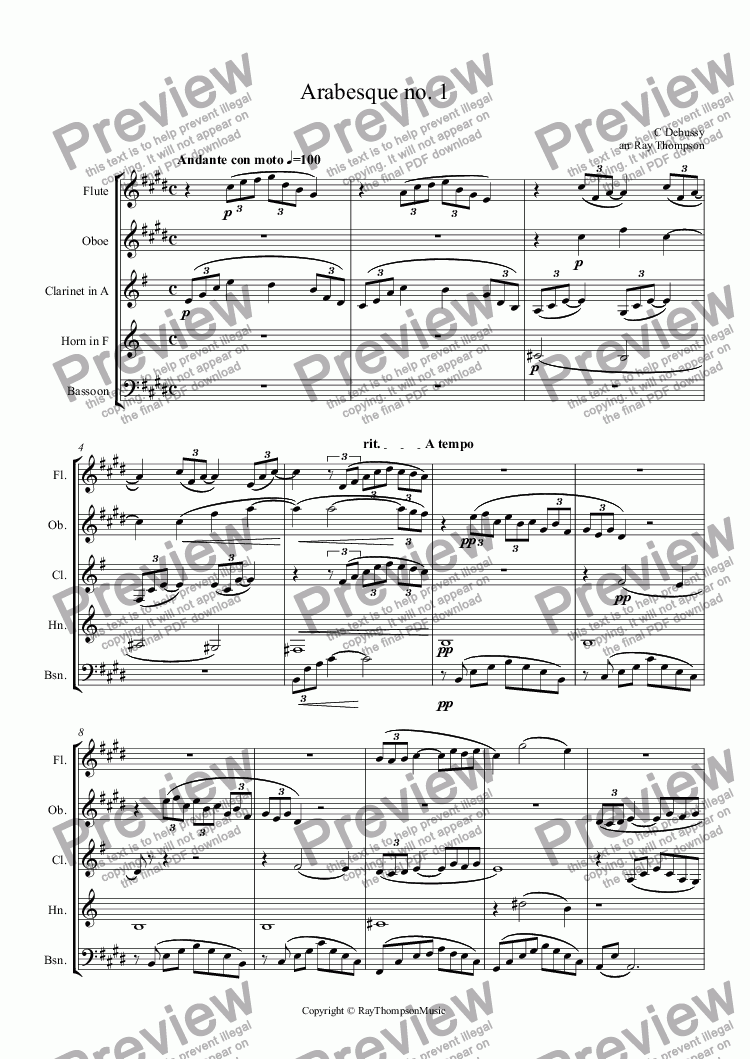 page one of Debussy: Arabesque no. 1 arr.wind quintet