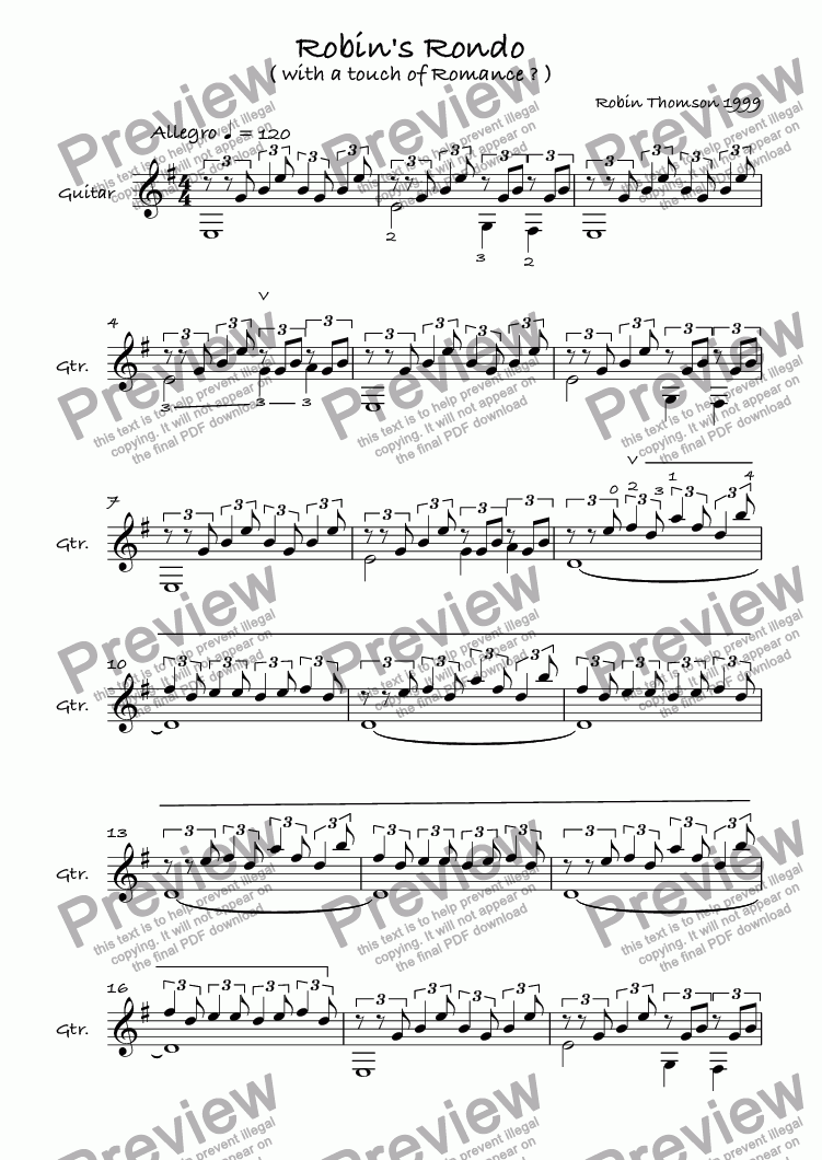 page one of Robin's Rondo