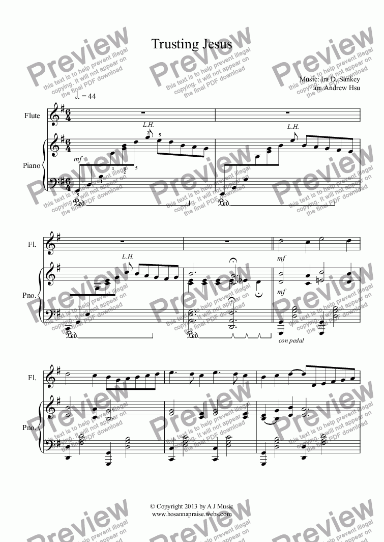 page one of Trusting Jesus - Flute