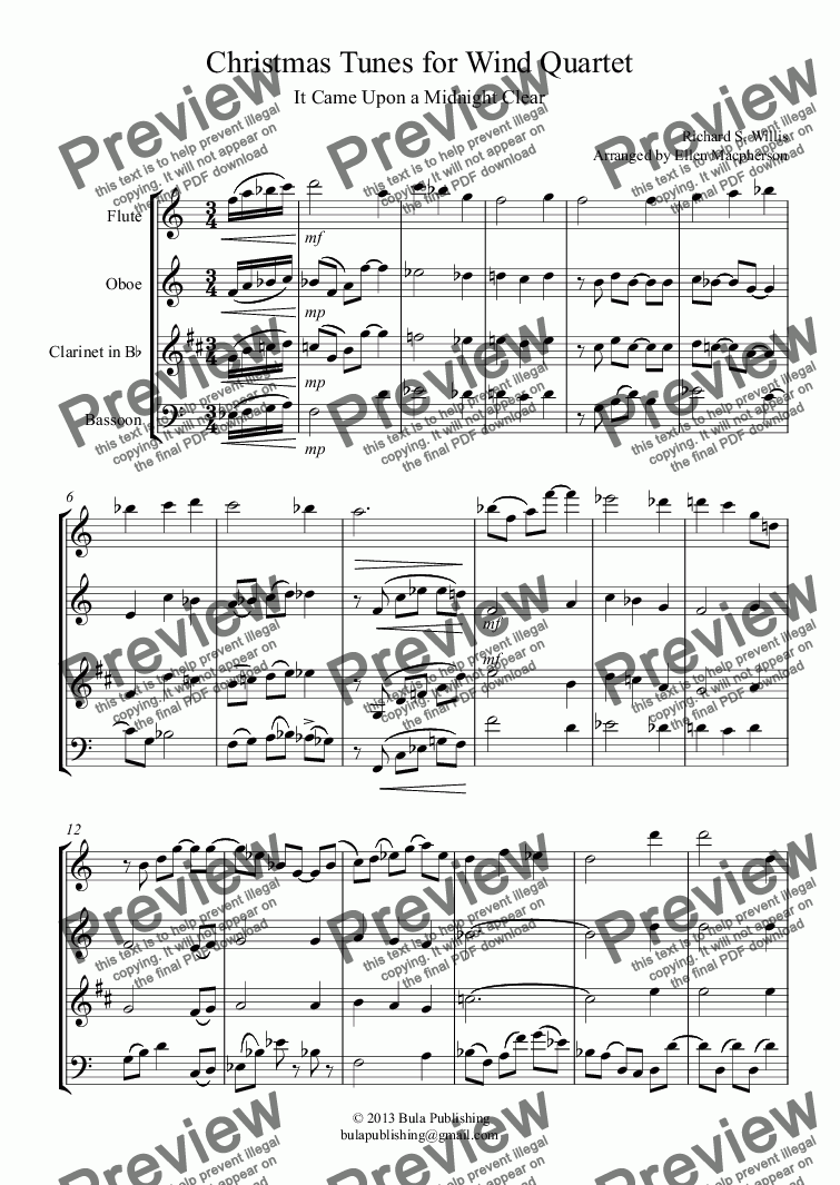page one of Christmas Tunes for Wind Quartet