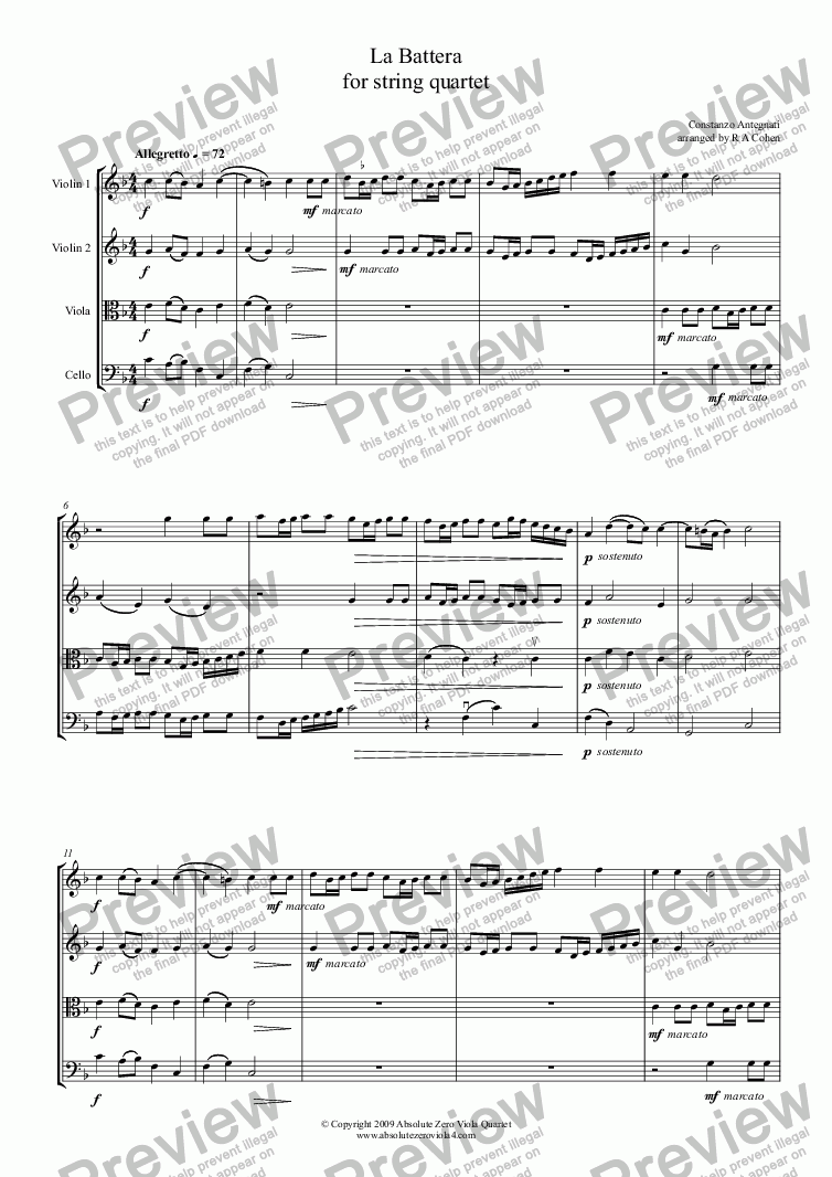 page one of Antegnati - LA BATTERA - for string quartet