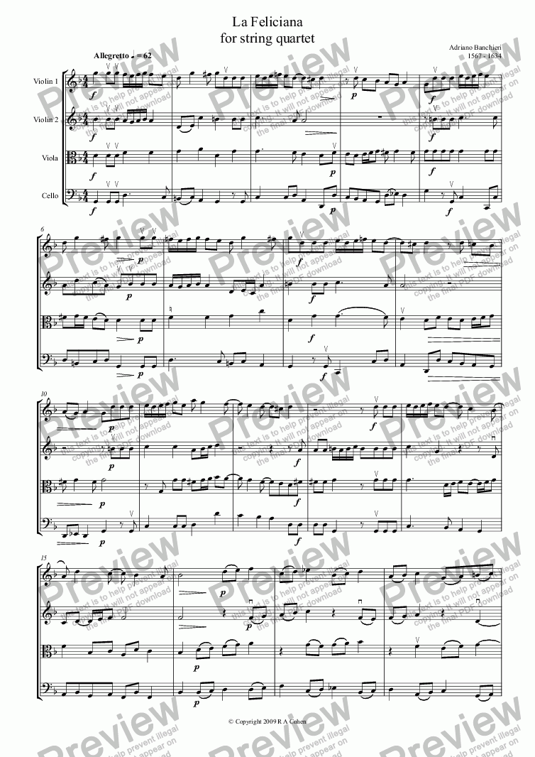 page one of Banchieri - LA FELICIANA - for string quartet