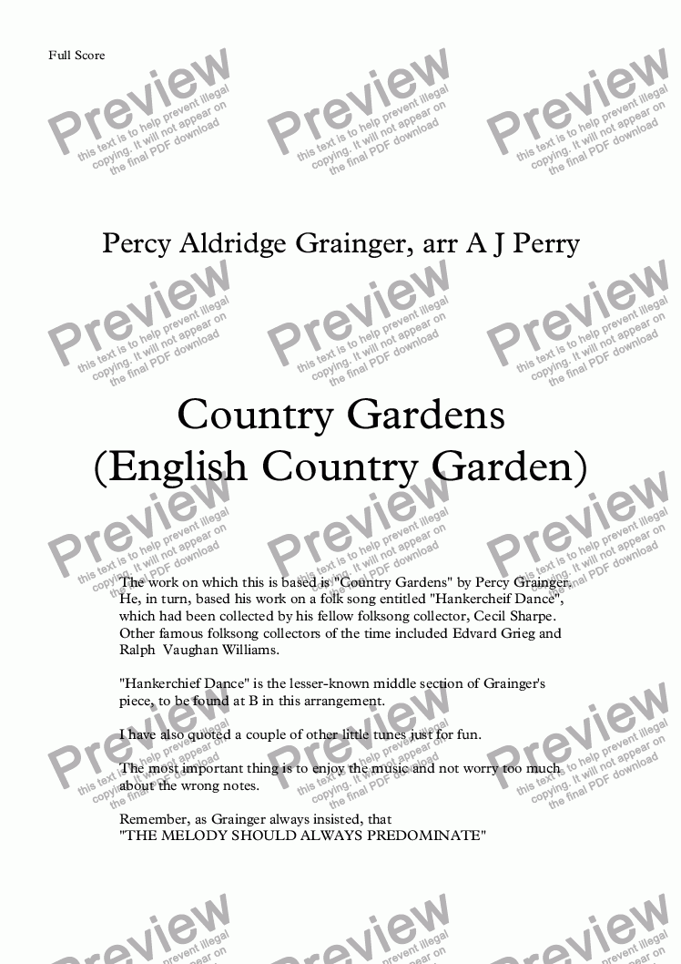 page one of Country Gardens (English Country Garden)