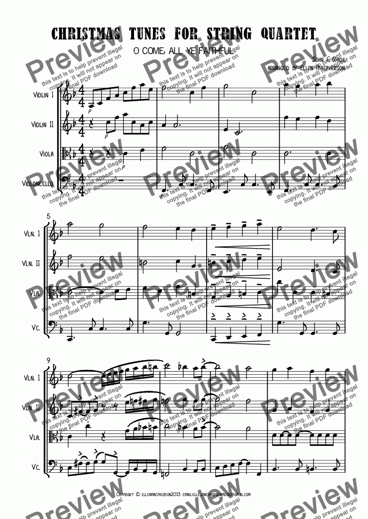 page one of Christmas Tunes for String Quartet