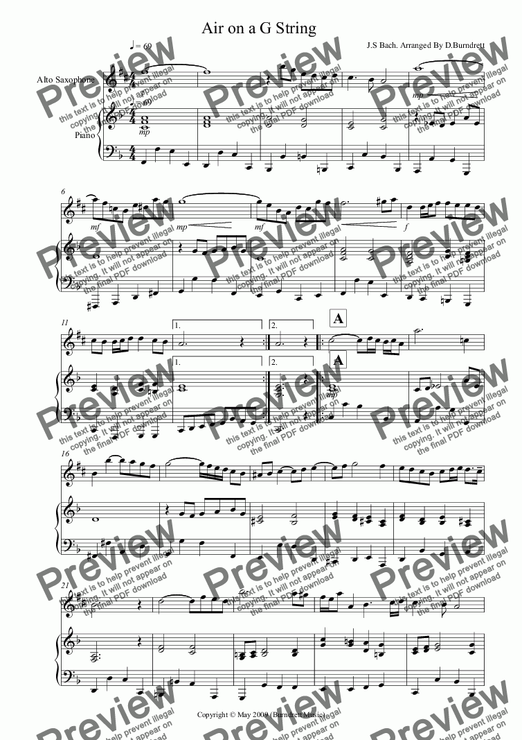 page one of Air on a G String for Alto Saxophone And Piano