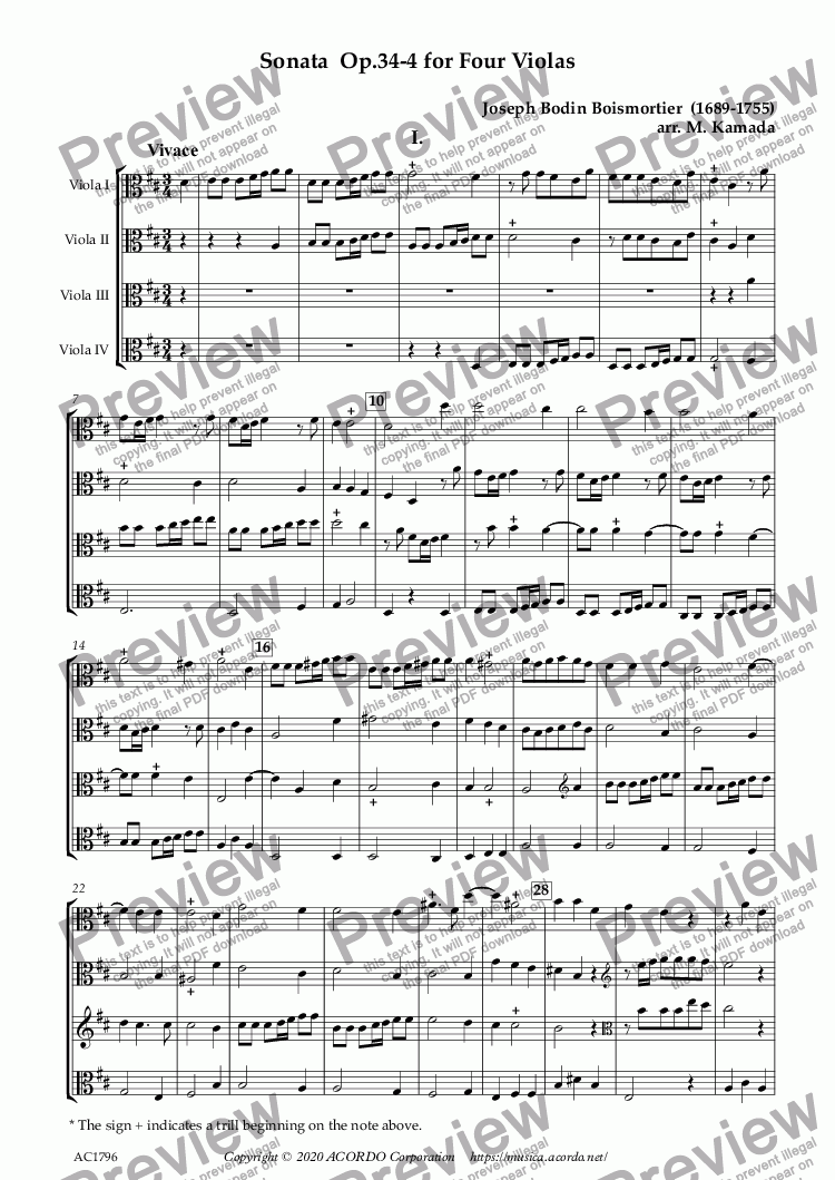 page one of Sonata  Op.34-4 for Four Violas