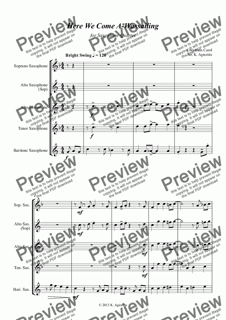 page one of Here We Come A-Wassailing - Jazz Carol for Saxophone Quartet