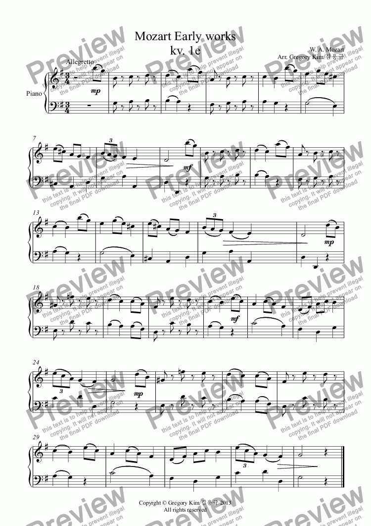 page one of Mozart Early works kv. 1e