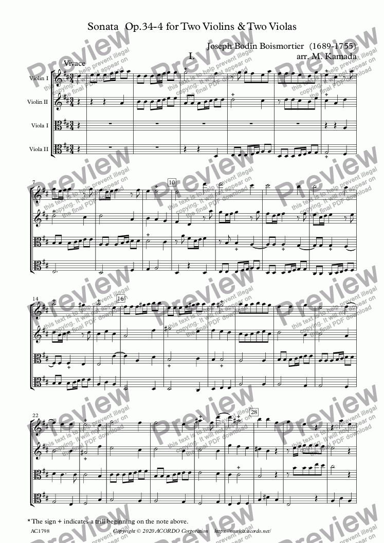 page one of Sonata  Op.34-4 for Two Violins & Two Violas