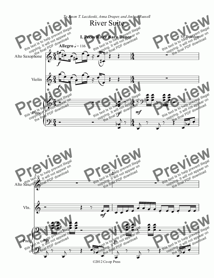 page one of River Suite for Alto Sax, Violin and Piano