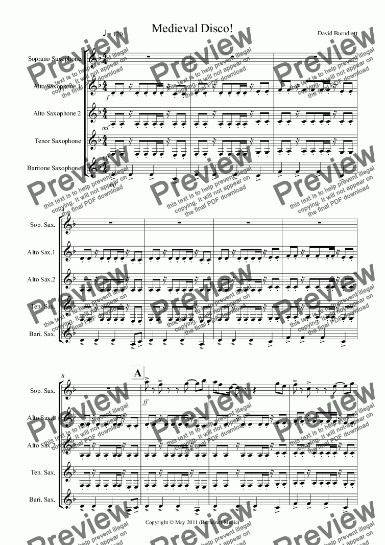 page one of Medieval Disco for Saxophone Quintet