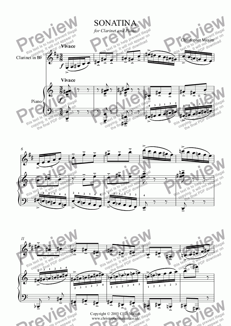 page one of Sonatina for Clarinet and Piano