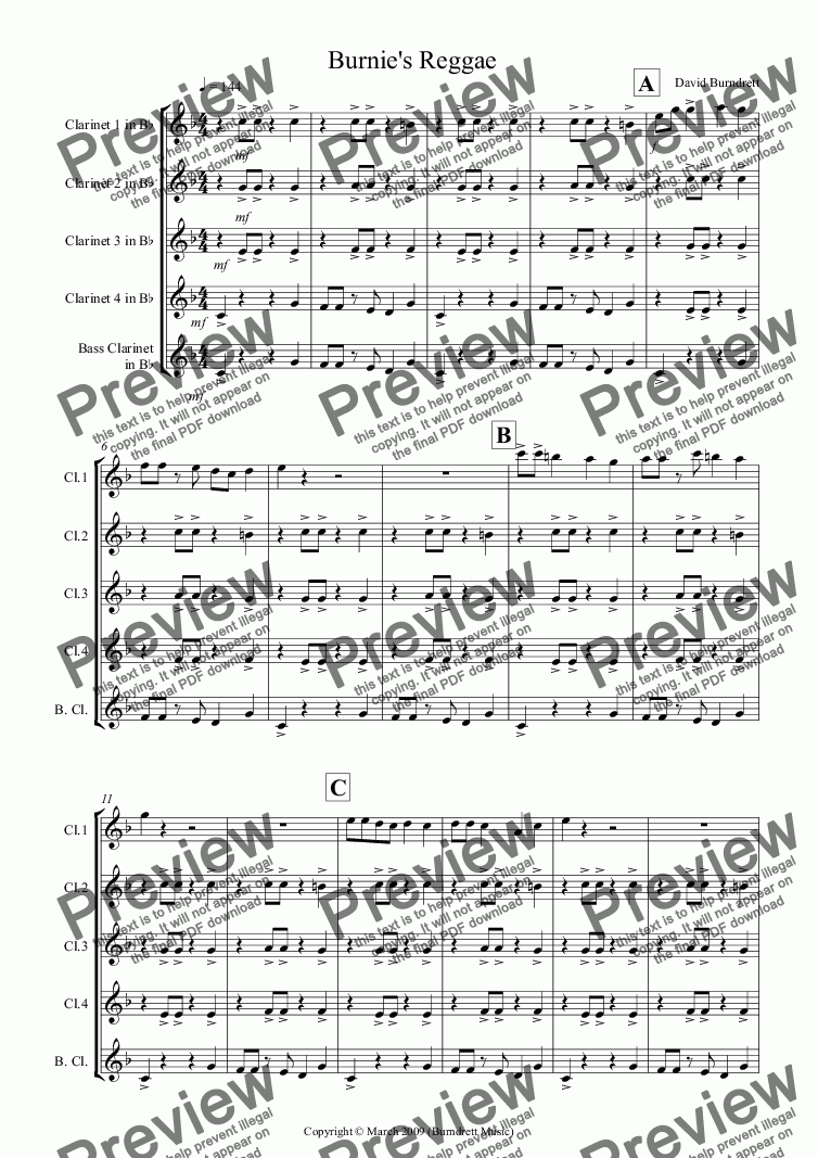 page one of Burnie's Reggae for Clarinet QuintetASALTTEXT