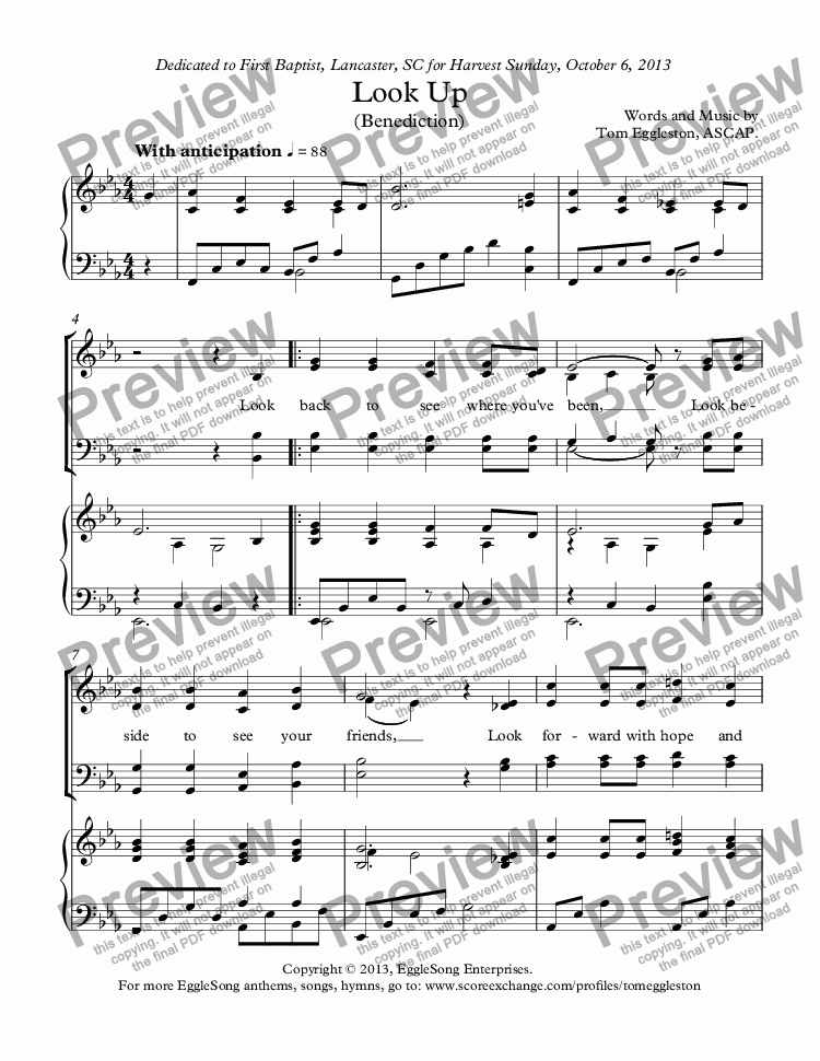 page one of Look Up (Benediction) with piano
