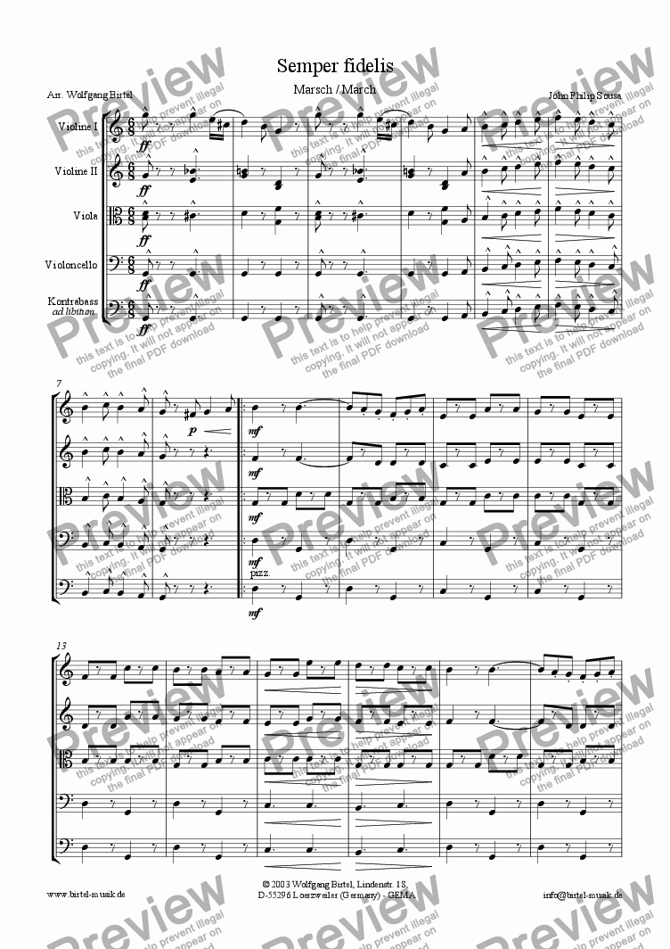 page one of Semper fidelis. March (For Strings)ASALTTEXT