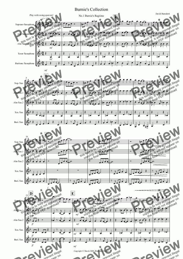 page one of Burnie's Saxophone Quintet Collection