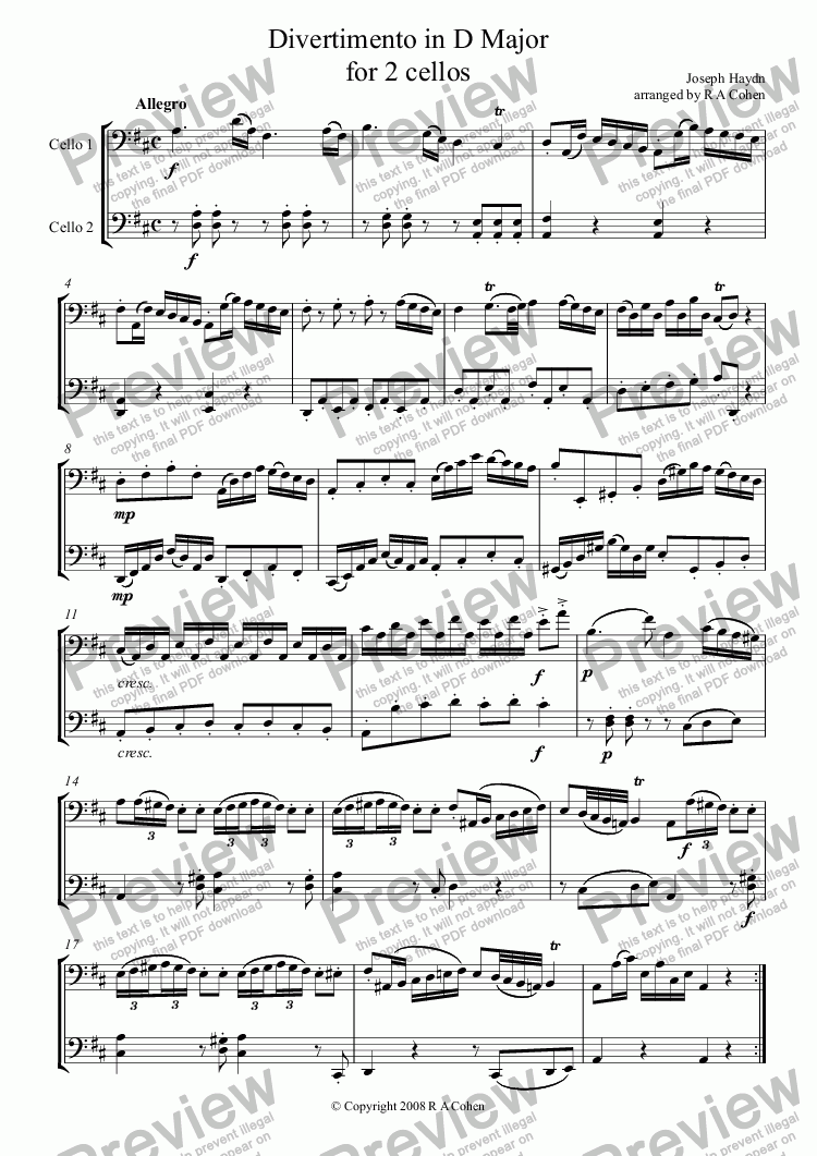 page one of Haydn - DIVERTIMENTO in D Major - for 2 cellos