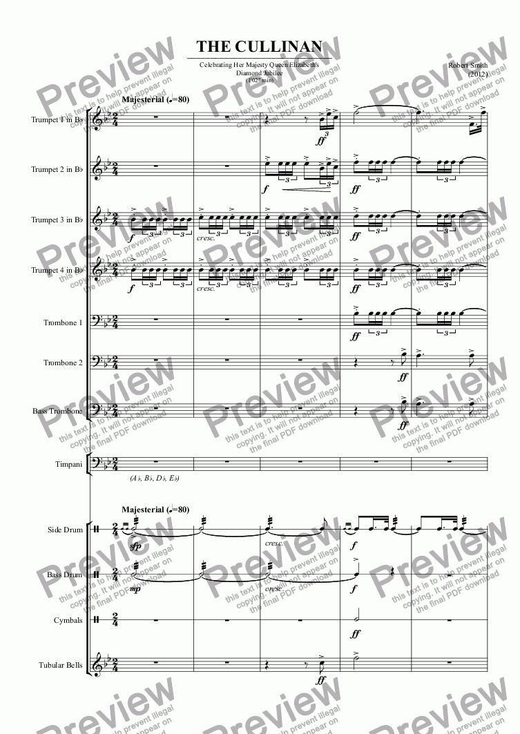 page one of 001 - THE CULLINAN (Fanfare Team - 4 trpts, 3 trbs, 4 perc)