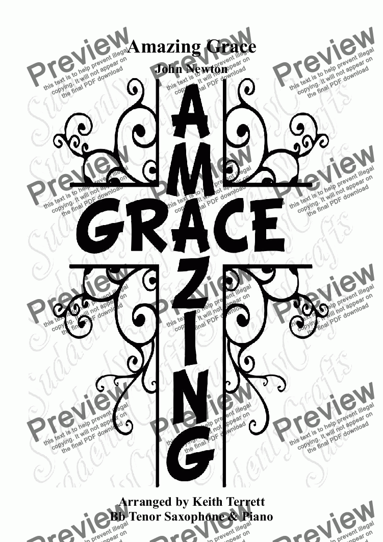 page one of Amazing Grace for Bb Tenor Saxophone & Piano