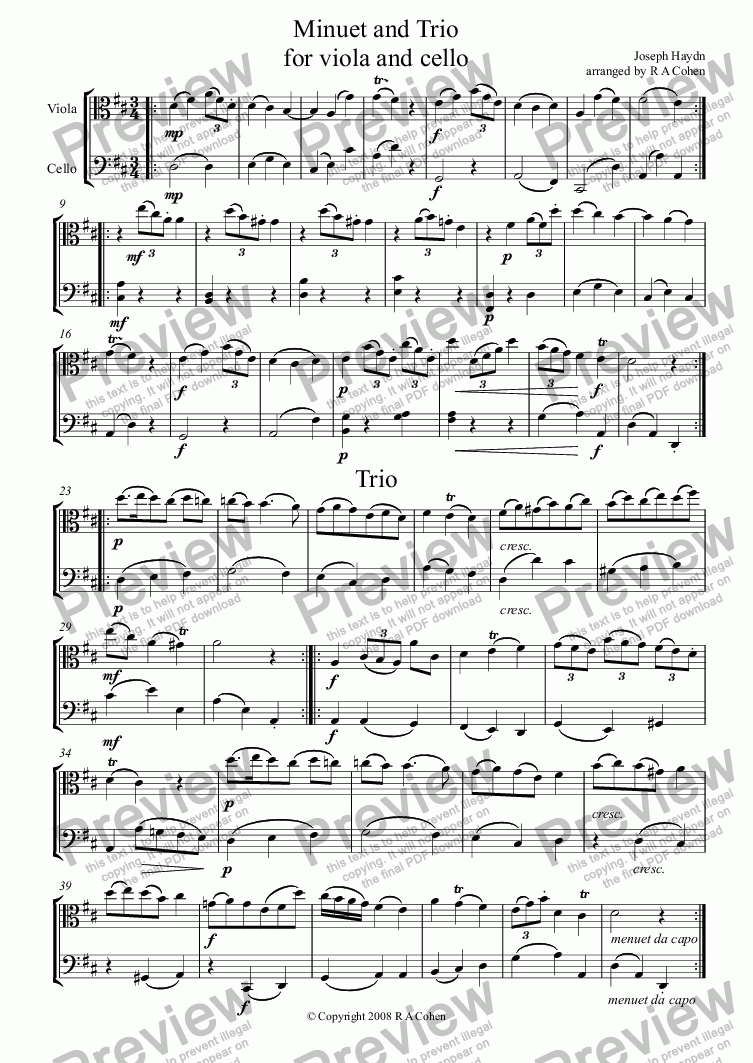 page one of Haydn - MINUET and TRIO - for viola and celloASALTTEXT