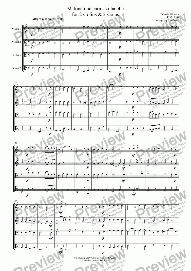 page one of Lassus - MATONA MIA CARA - for 2 violins and 2 violas