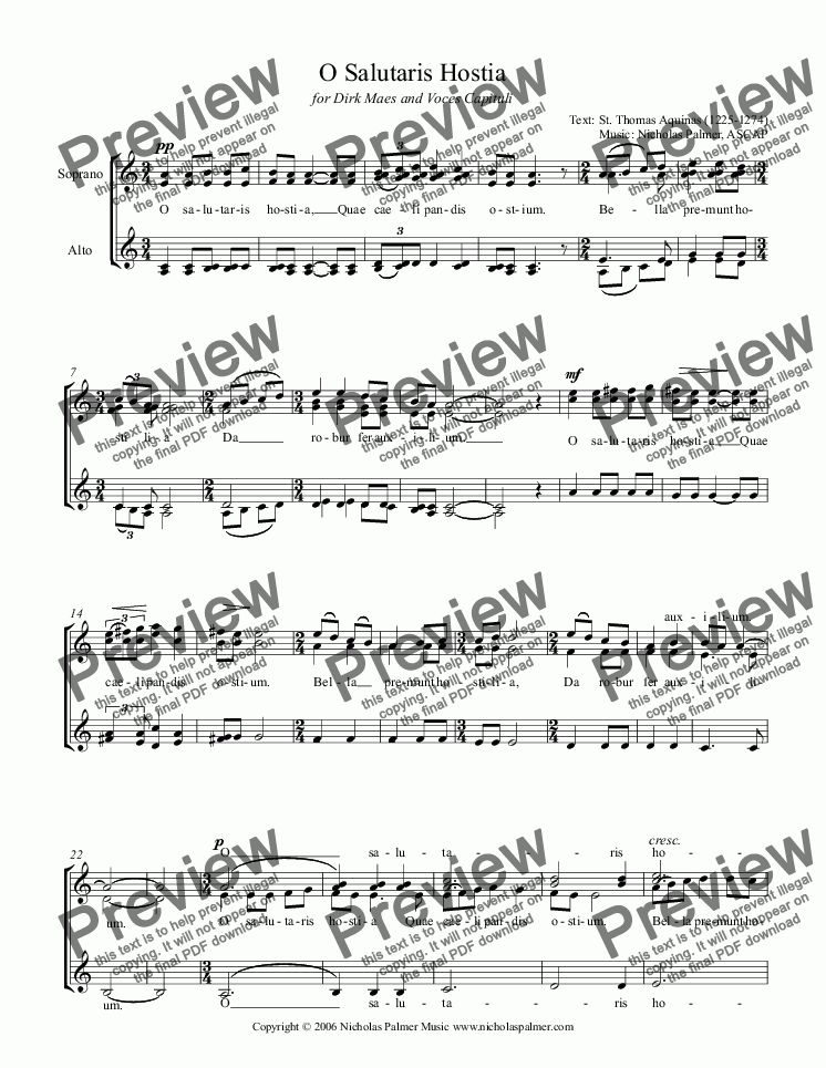 page one of O Salutaris Hostia [SSAA]