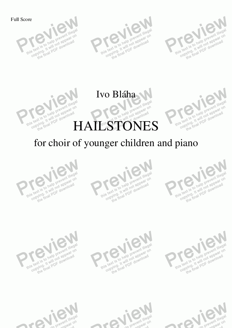 page one of HAILSTONES (Kroupy) for choir of younger children and piano (English words)