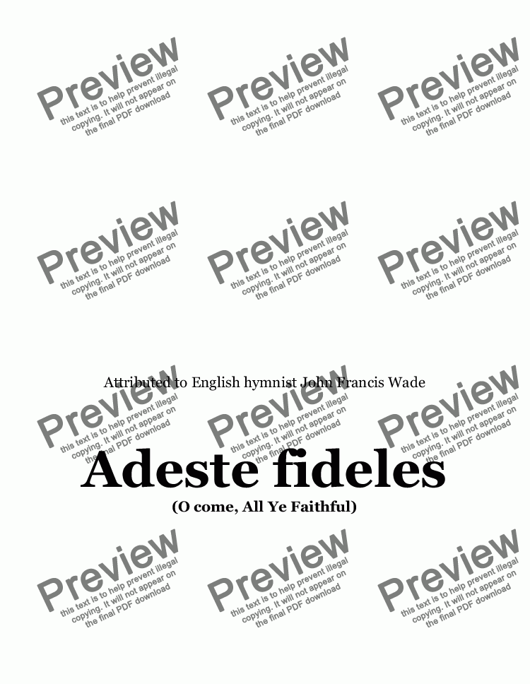 page one of Adeste Fideles