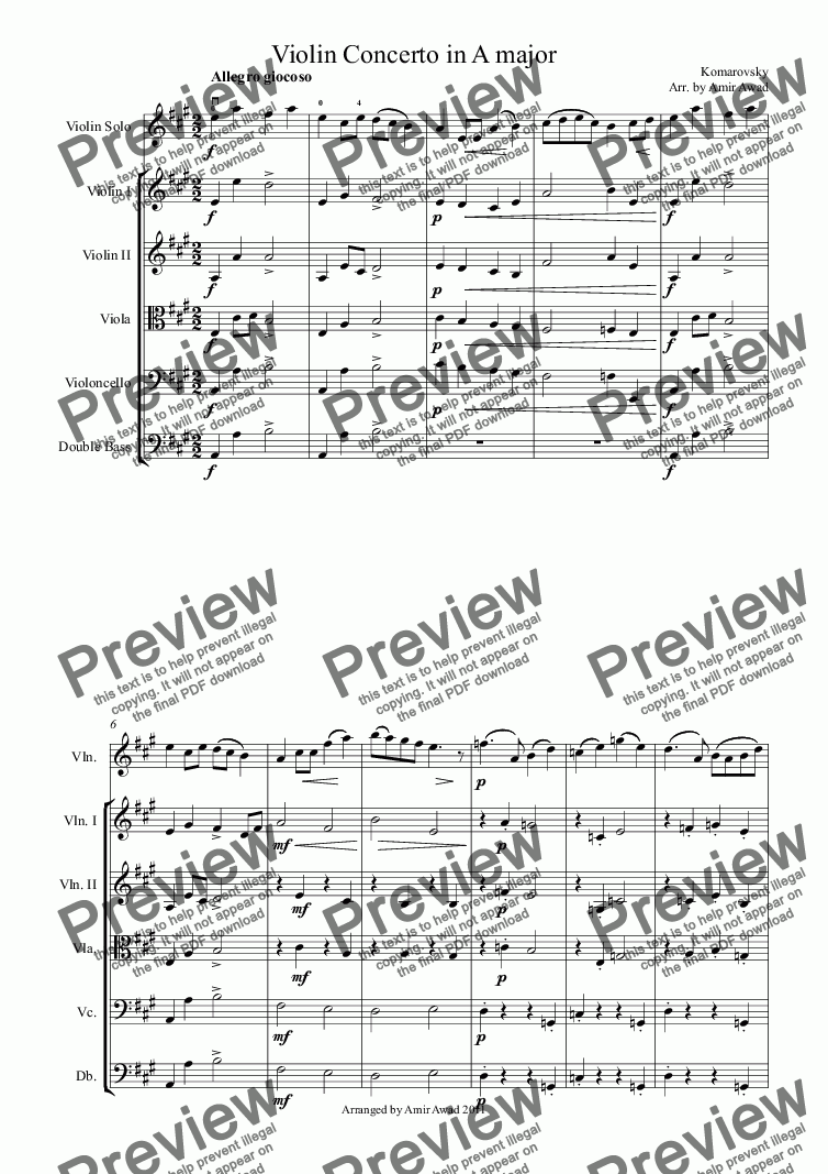 Komarovsky: Violin Concerto in A major for Orchestra + solo Solo Violin by  Komarovsky - Sheet Music PDF file to download