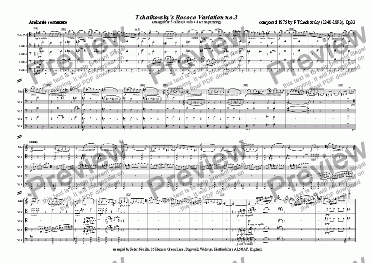 page one of Rococo Variation 3, Tchaikovsky