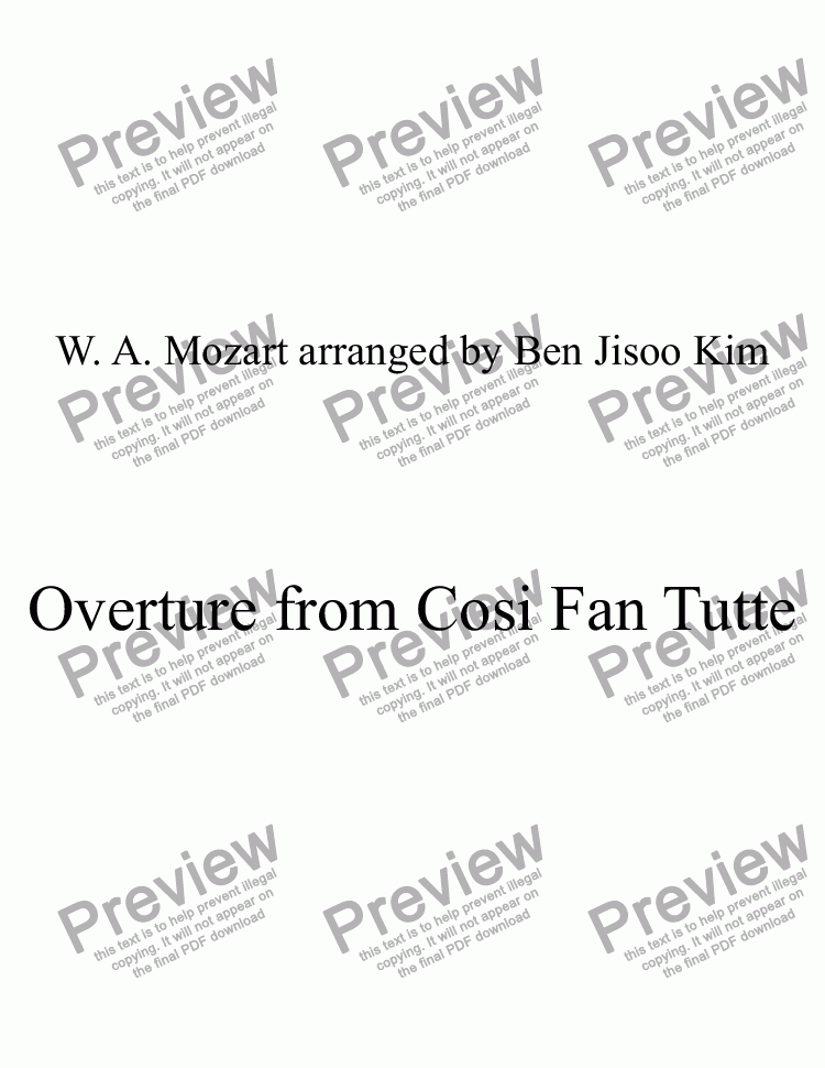 page one of Overture from Cosi Fan TutteASALTTEXT