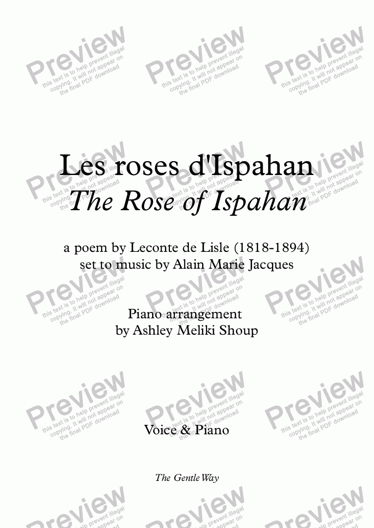 page one of Les roses d'Ispahan (A. Jacques / Leconte de Lisle) bilingual
