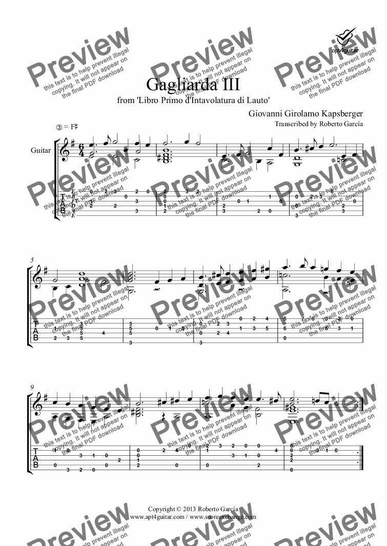 page one of Gagliarda III for solo guitar