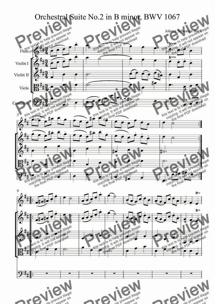 page one of Orchestral Suite No.2 in B minor, BWV 1067