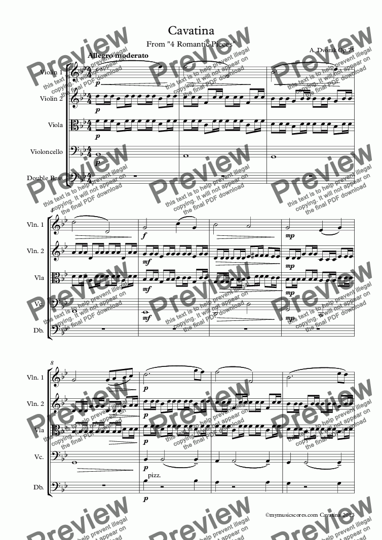page one of Dvorak Cavatina for String Orchestra