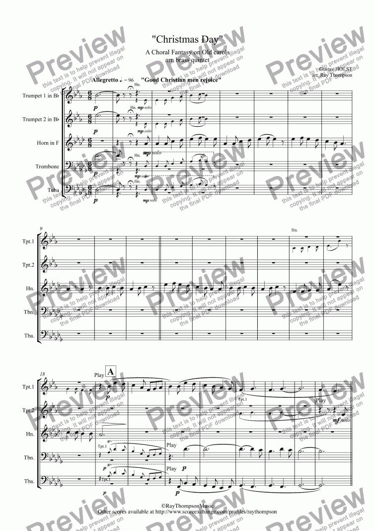 All Music Chords brass choir sheet music : Holst: Christmas Day (A Carol Medley) - brass quintet - PDF