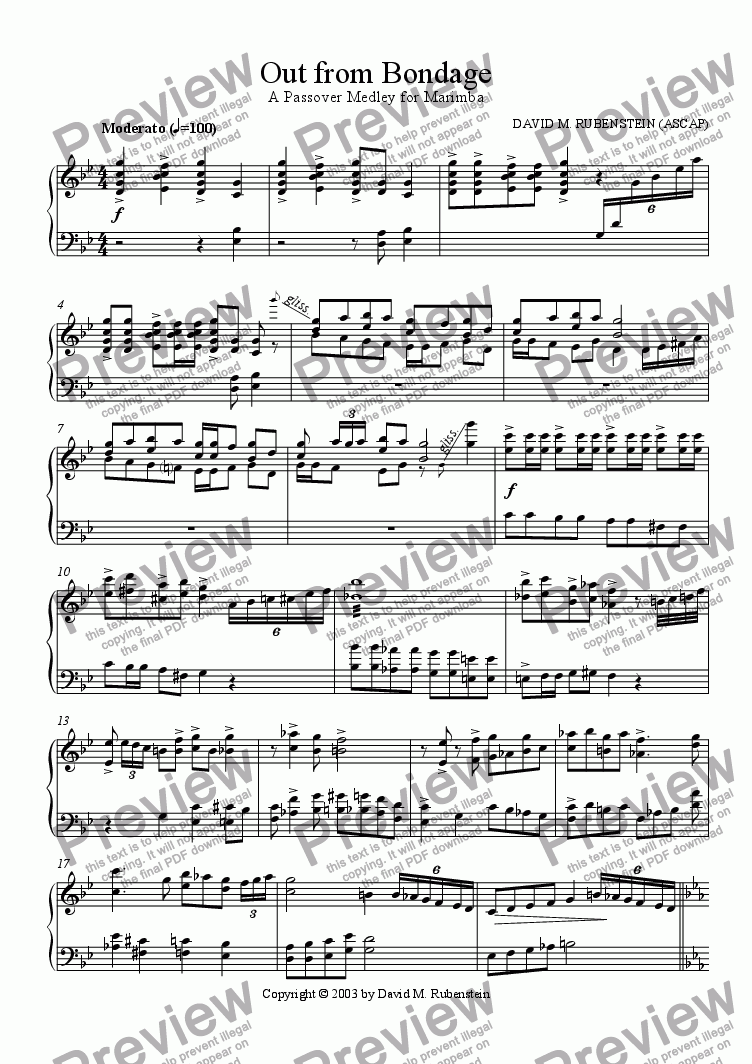 page one of Out from Bondage: A Passover Medley for Marimba