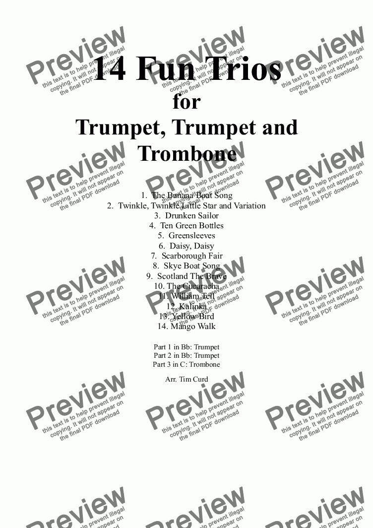 page one of 14 Fun Trios For Trumpet, Trumpet and Trombone