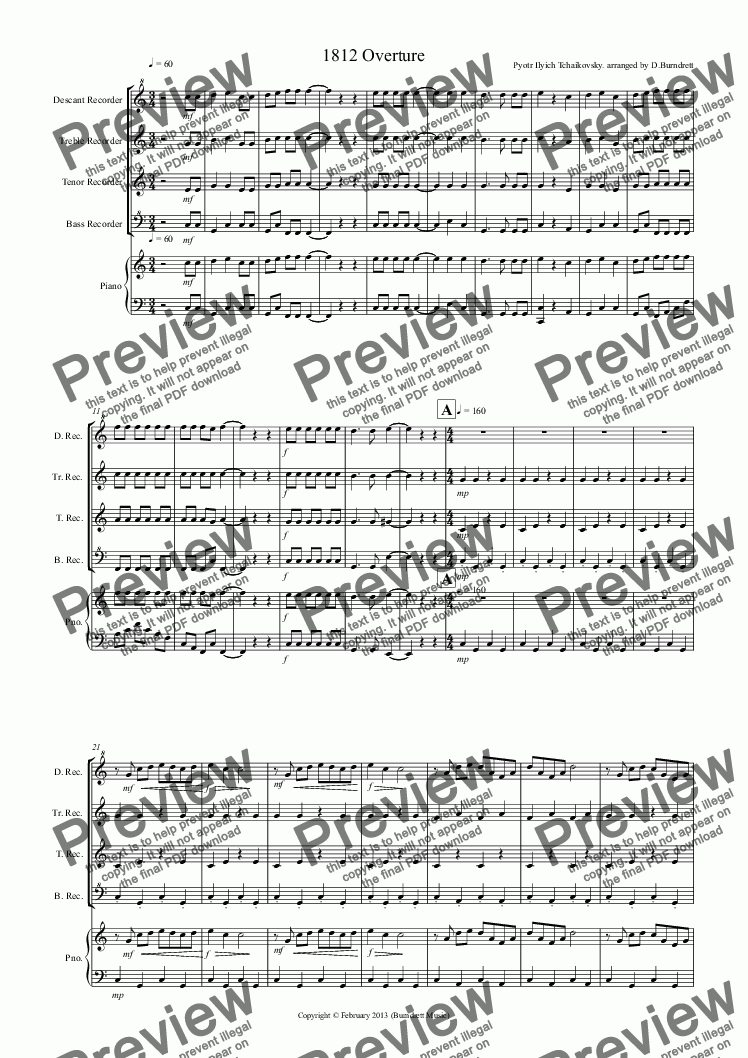 1812 Overture for Recorder Quartet for Quartet by Pyotr Ilyich Tchaikovsky  arranged by David Burndrett - Sheet Music PDF file to download
