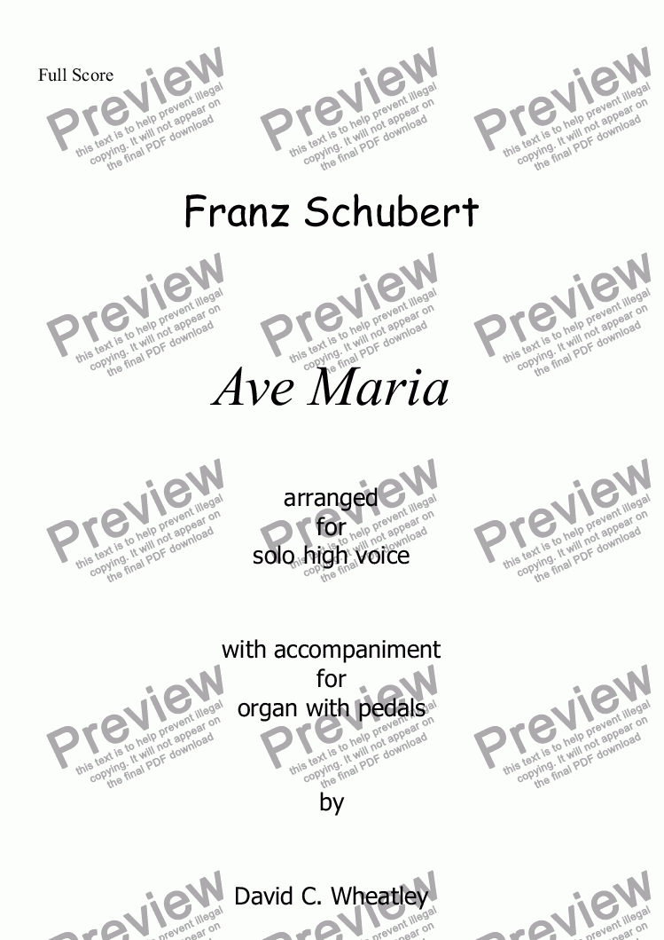 page one of Schubert - Ave Maria for solo high voice and organ